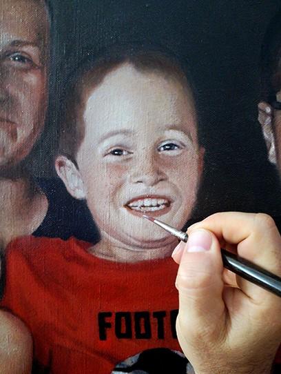 Kinderportrait mit Hund - Arbeit in Entstehung