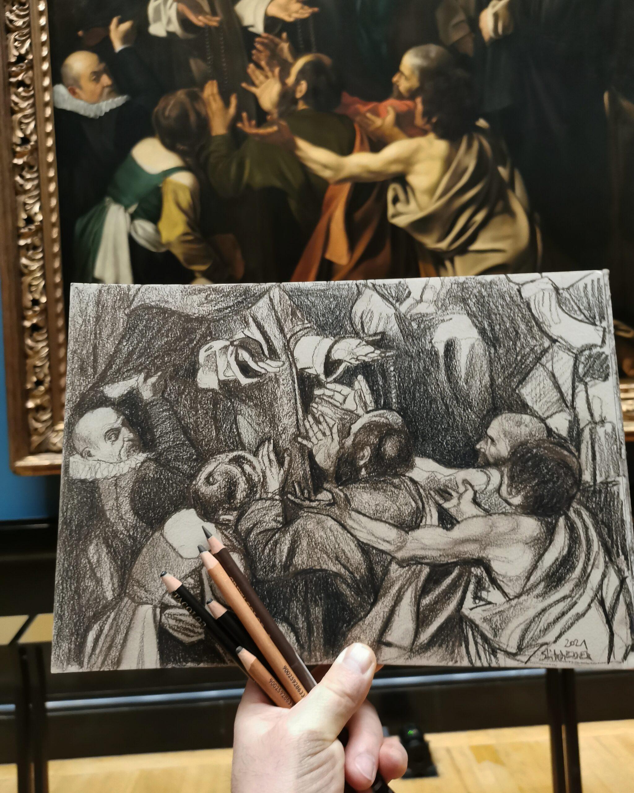 """Ausschnitt aus """"Rosenkranzmadonna"""" - Caravaggio"""